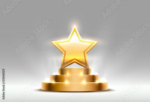 Fotografía Star best podium award sign, golden object.