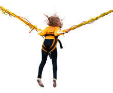 Girl Jumping On A Bungee Isolated