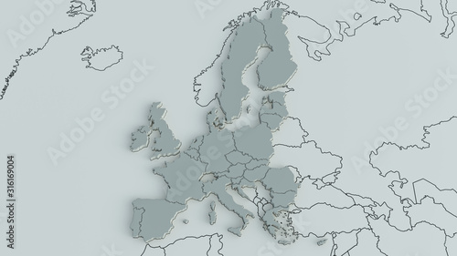 Obraz Europe on a world map with the borders of continents and countries - 3D Rendering - fototapety do salonu