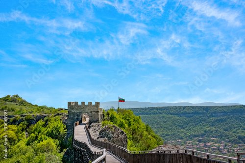 Wooden bridge and Gate of the ancient fortress Ovech Canvas Print