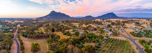 Wide Aerial Panorama Of Grampians Mountains And Countryside At Sunset