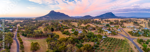 Fototapeta Wide aerial panorama of Grampians mountains and countryside at sunset obraz