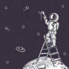 Astronaut Draws A Starry Sky. ...