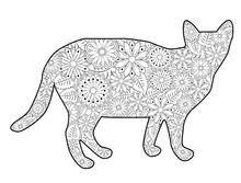 Coloring Book Magic Cat For Adults. Hand Drawn Artistically Ethnic Ornament With Patterned Illustration