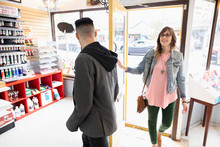 Couple Arriving, Shopping In Art Supply Shop