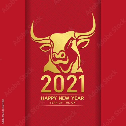 Cuadros en Lienzo Happy chinese new year 2021 with gold head ox zodiac sign on red chinese culture