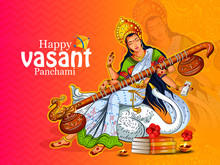 Vector Illustration Of Goddess Saraswati For Vasant Panchami Puja Of India