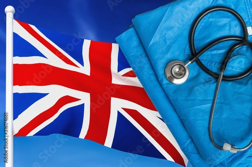 Photo Health care in United Kingdom. Stethoscope and medical uniform.