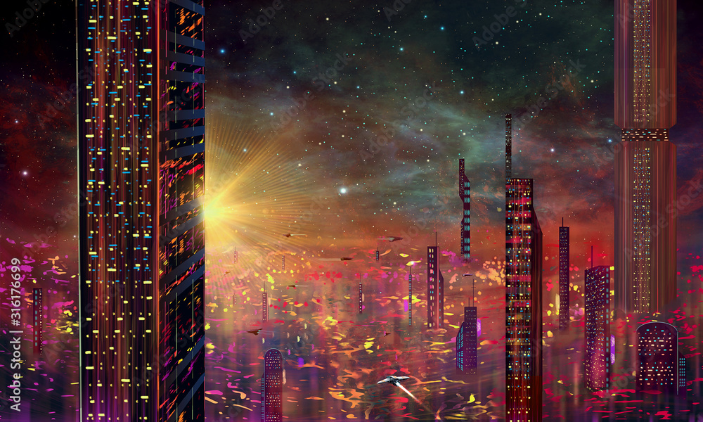 Spaceship fly above abstract modern sci-fi colorful city with night sky and stars at sunset. 3D illustration