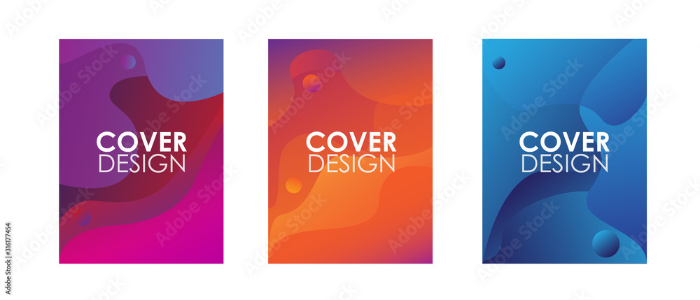 Fototapeta Minimal annual report design vector collection. Abstract liquid shape. Dynamic shapes composition.