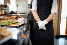 Female Waitress Wearing White ...