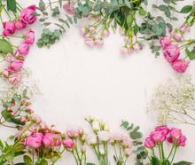 Frame Of Flowers On White Marb...