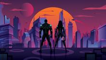 Superhero Couple In Futuristic...