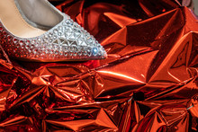 Shoe Decorated With Crystal On...