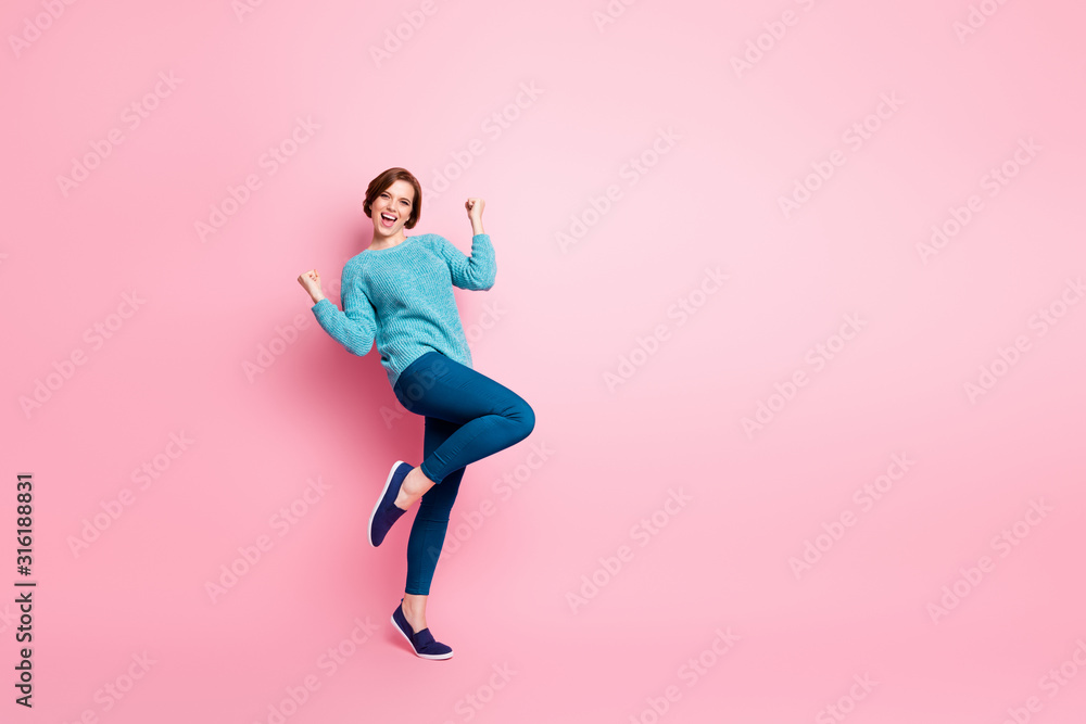 Fototapeta Full length body size view of her she nice attractive pretty lovely glad cheerful cheery brown-haired girl celebrating having fun isolated over pink pastel color background