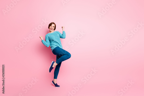 Obraz Full length body size view of her she nice attractive pretty lovely glad cheerful cheery brown-haired girl celebrating having fun isolated over pink pastel color background - fototapety do salonu