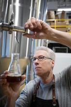 Focused Senior Male Brewer Examining Beer From Fermentation Tank In Distillery