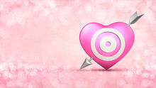Pink Heart With Target And Metallic Arrow Concept On Glamour Bright Bokeh Background. Love Concept 3D Illustration.