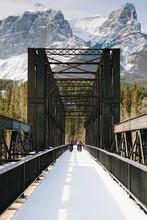 Friends On Snowy Bridge Below ...