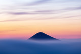 Mountain top over fog and cloud landscape after sunset. Carpathian mountains, view of Mount Hoverla, Ukraine - 316194293