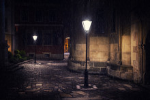 Rainy Night In Old European Ci...