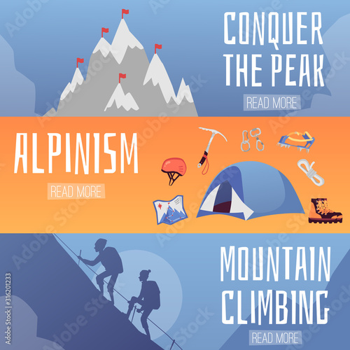 Mountain climbing and alpinism horizontal banners set vector illustration Canvas Print