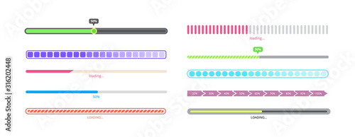Fotomural Isolated progress bar set - different styles of loading process indicators