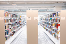 Rows Of Books On Bookcases In ...