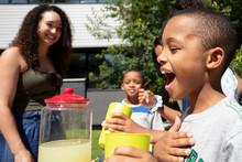 Happy Boy Serving Lemonade At ...