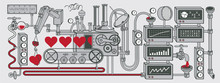 Vector Banner On The Theme Of Valentine's Day With Red Hearts And A Decorative Love Factory. Illustration With A Love Conveyor, Laboratory Or Industrial Equipment, Devices, Sensors, Mechanisms.
