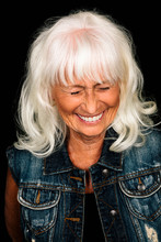 Portrait Laughing, Happy Senior Woman With White Hair