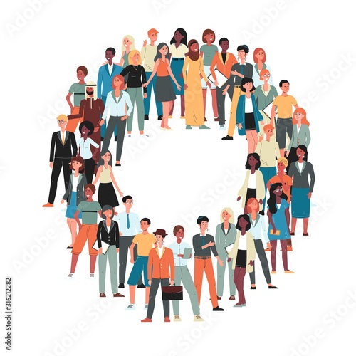 Multicultural crowd of people cartoon characters flat vector illustration isolated.