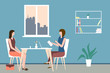 Two women sit at a table in a cozy office. Concept of interview, consultation, insurance, resume submission, business negotiations, reception in state institutions and bodies. Vector illustration.