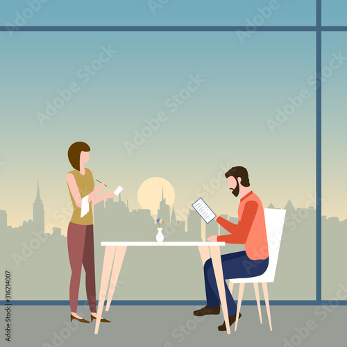 Photo A man makes an order in a cafe or restaurant with panoramic windows on a top floor of a skyscraper with a view of city buildings