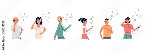 People in headphones listening music set of flat vector illustration isolated Canvas Print