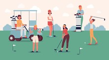 Female Golf Player Team Standing On Green Course With Golfing Equipment