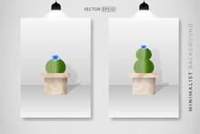 Set Of Cactus Plant And Pot Wa...