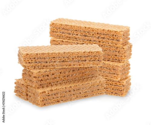 Fotografia wafer biscuit isolated on white background.