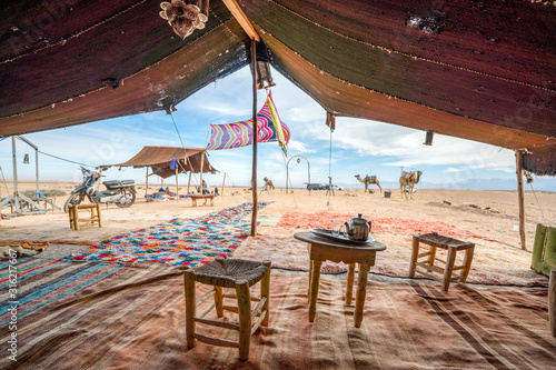 Fotomural Interior of Bedoiun temporary stretch tent on Agafay desert, Morocco