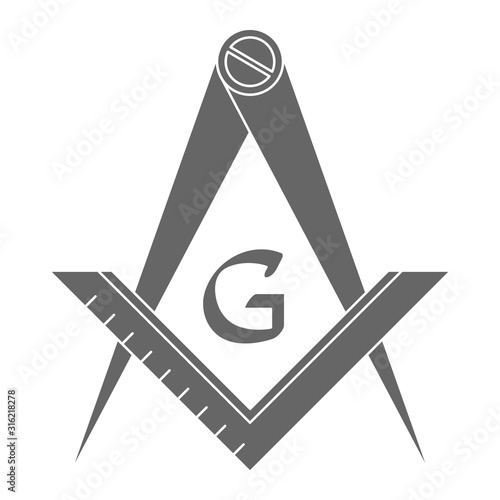 Valokuvatapetti vector icon with Masonic Square and Compasses for your design