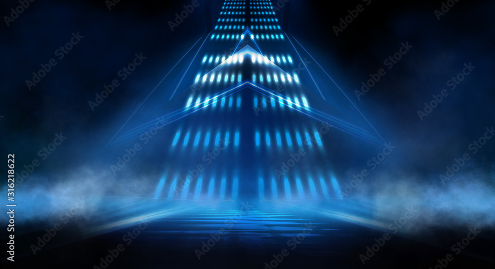 Fototapeta Dark background with lines and spotlights, neon light, night view. Abstract blue background.