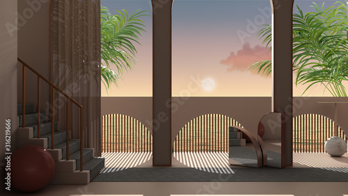 Fényképezés Dreamy terrace, over sea sunset or sunrise with moon and cloudy sky, tropical pa