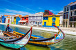 Leinwanddruck Bild - Colorful Buildings And Boats - Aveiro, Portugal