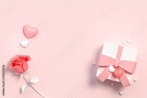 Photo Valentines gift template blank card with old rose color rose on pastel background 3d rendering