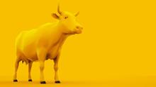 Cow Isolated On Yellow Backgro...