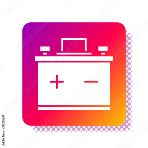 Photo White Car battery icon isolated on white background