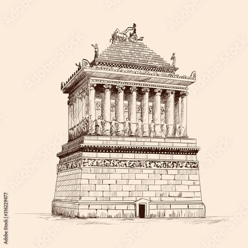 Fotografia Mausoleum with columns in Halicarnassus