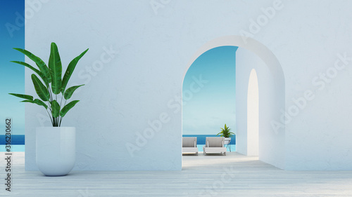Fotomural Gate to the sea view & Beach living - Santorini island style / 3D rendering