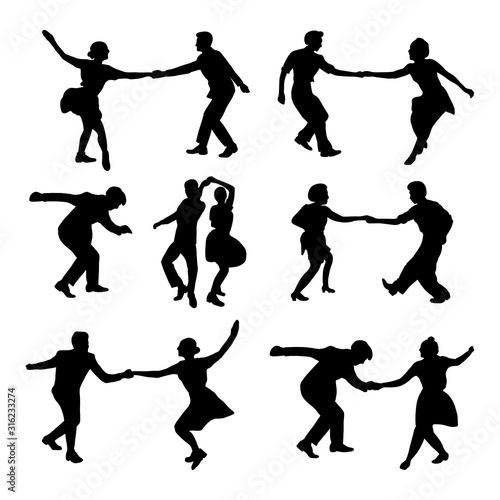 Set silhouette dancing people in a retro swing isolated Canvas Print