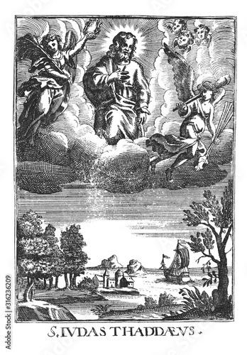 Valokuva Antique vintage religious allegorical engraving or drawing of Jude or Judas Thaddaeus in heaven above the seaside landscape